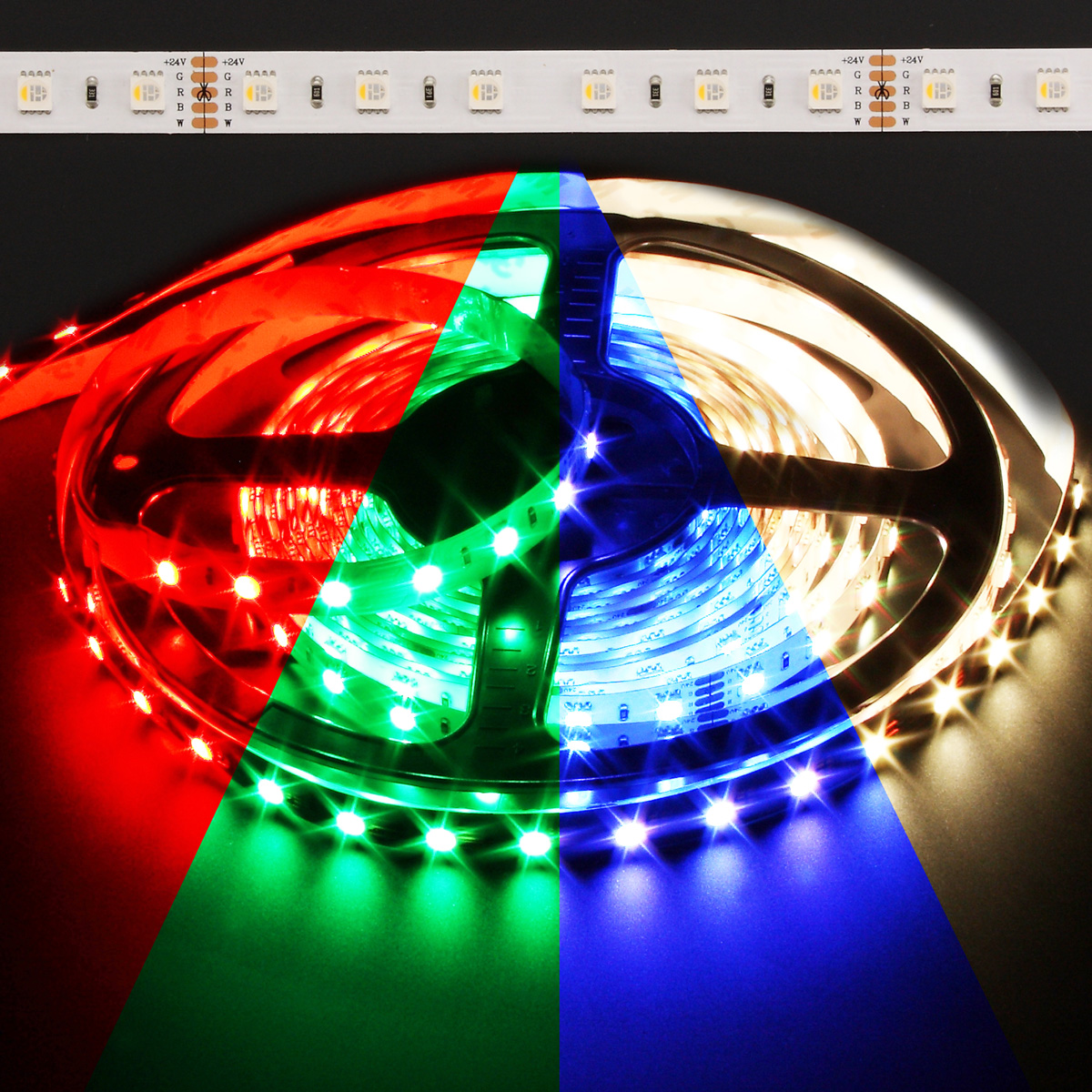Color Changing Led Light Strips: Color Changing RGB + Warm White Quadchip 5050 72W LED