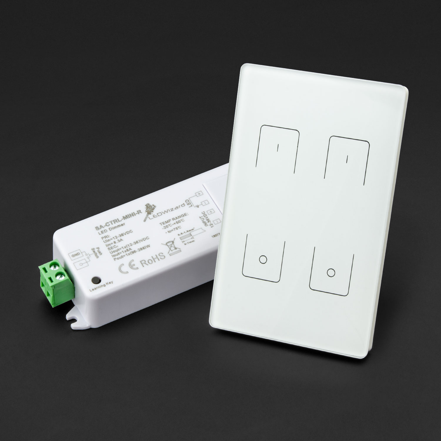 glasstouch pro 2 zone wireless dimmer wall switch 120v ac