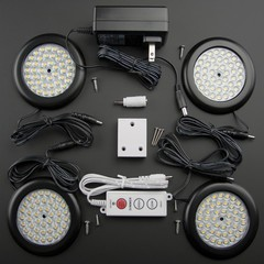 Super Warm White Premium LED Puck Light Black Body Kit